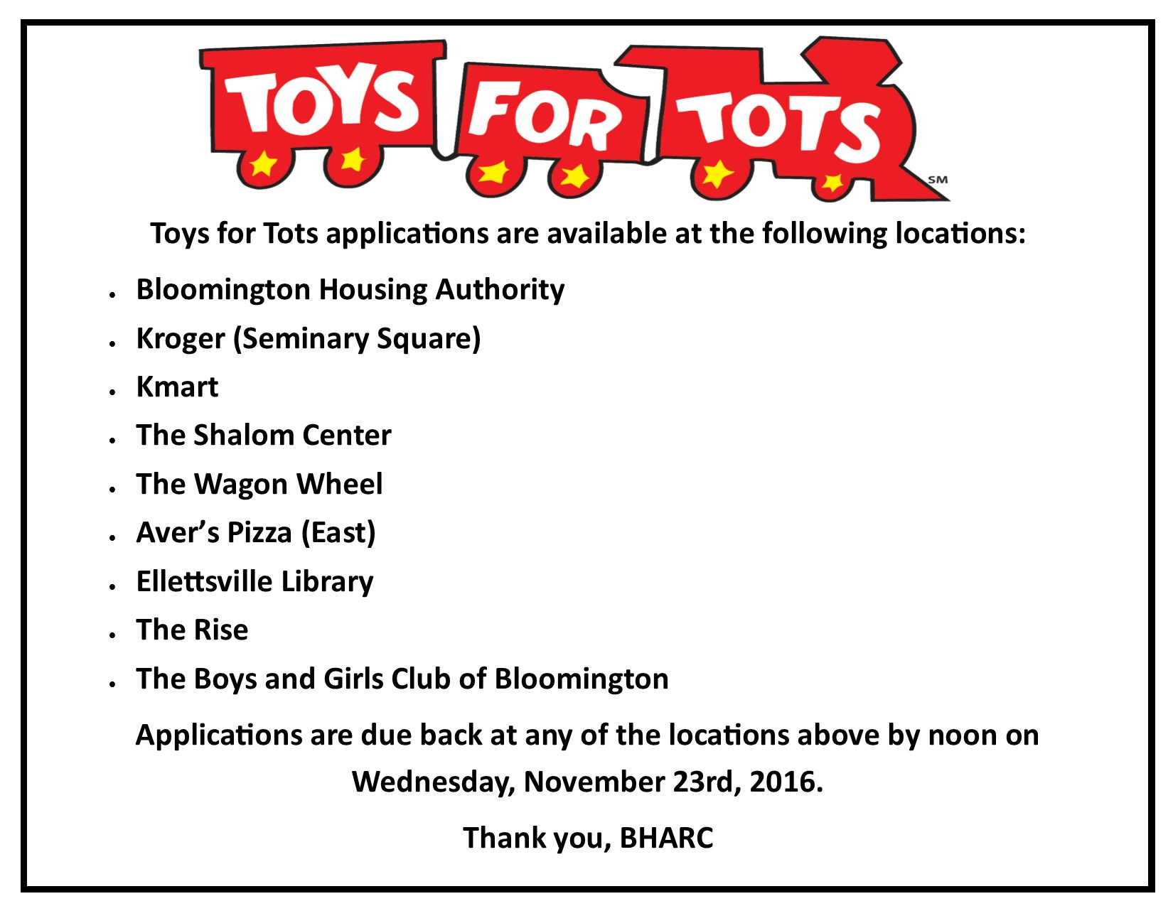 Organization For Toys For Tots Application Form : Bloomington housing authority toys for tots deadline